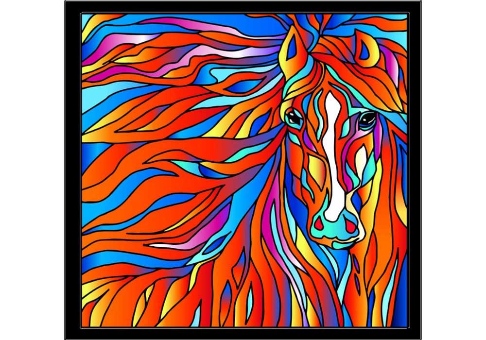 Витраж-раскраска «Огненная лошадь»Color KIT<br>Витраж-раскраска – новый вид раскрасок для взрослых. В комплектации набора предусмотрено все, что может понадобиться при создании уникального произведения искусства.<br>Основа этой раскраски – стекло, обрамленное в багетную раму. Расписывать витраж достаточн...<br><br>Артикул: HS004<br>Основа: стекло в багетной раме<br>Размер: 43x43 см<br>Количество цветов: 12
