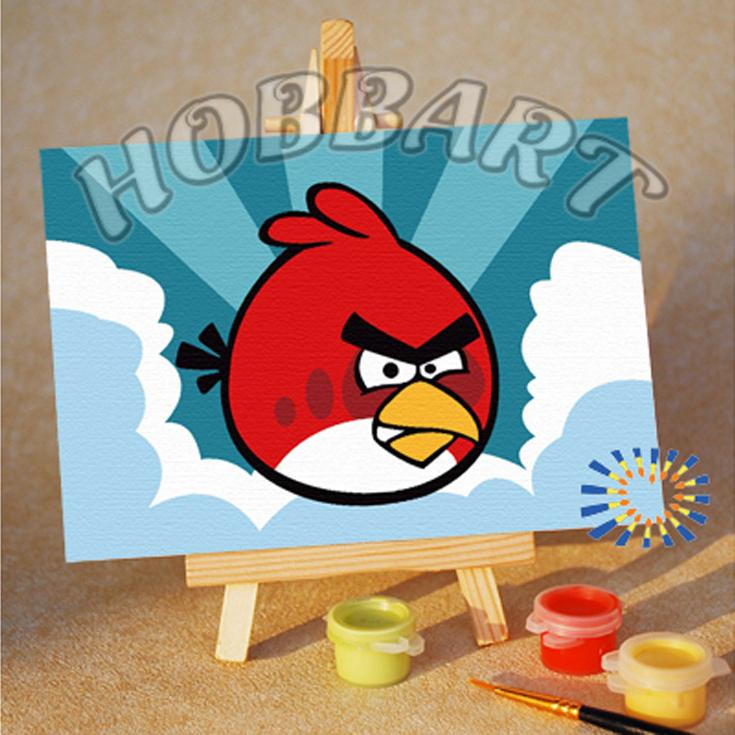 «Angry Birds. Red bird. Сквозь облака»10x15<br><br><br>Артикул: M1015132<br>Основа: Картон<br>Сложность: очень легкие<br>Размер: 10x15 см<br>Количество цветов: 8<br>Техника рисования: Без смешивания красок