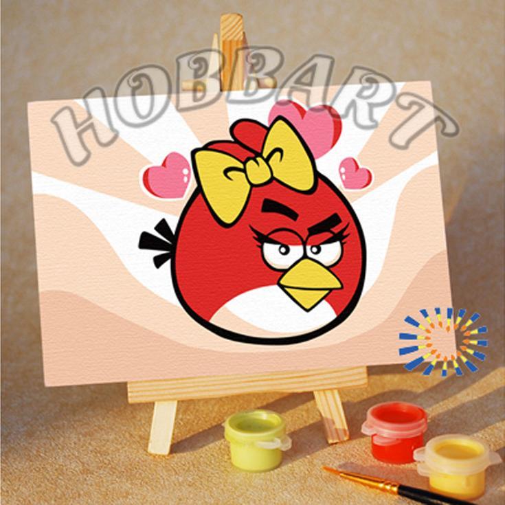 «Angry Birds. Red bird. Кокетка»10x15<br><br><br>Артикул: M1015141<br>Основа: Картон<br>Сложность: очень легкие<br>Размер: 10x15 см<br>Количество цветов: 7<br>Техника рисования: Без смешивания красок