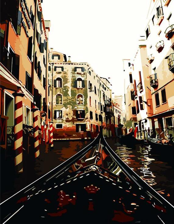 «По каналам Венеции»Paintboy (Premium)<br><br><br>Артикул: GX8383<br>Основа: Холст<br>Сложность: средние<br>Размер: 40x50 см<br>Количество цветов: 26<br>Техника рисования: Без смешивания красок