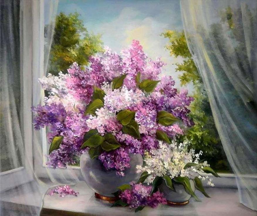Картина по номерам «Сирень на окне» Анки БулгаруPaintboy (Premium)<br><br><br>Артикул: gx8592<br>Основа: Холст<br>Сложность: средние<br>Размер: 40x50 см<br>Количество цветов: 28<br>Техника рисования: Без смешивания красок