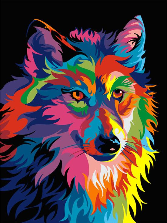 Картина по номерам «Радужный волк» Ваю РомдониЦветной (Premium)<br><br><br>Артикул: ME1002_Z<br>Основа: Холст<br>Сложность: средние<br>Размер: 30x40 см<br>Количество цветов: 25<br>Техника рисования: Без смешивания красок
