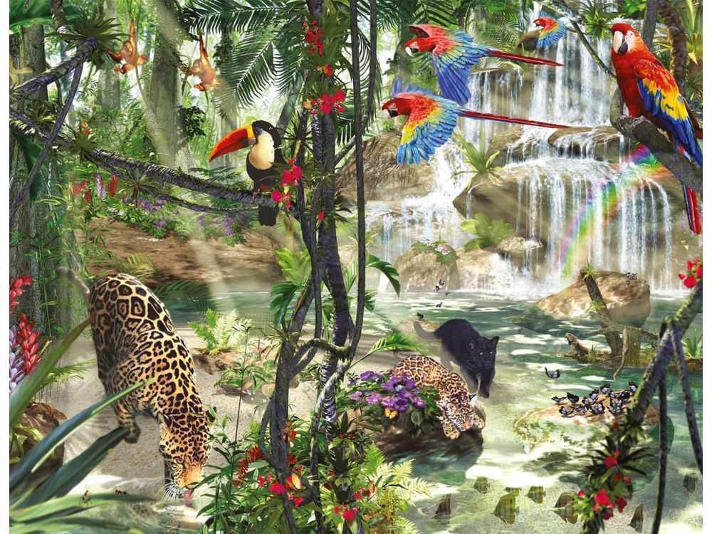 Пазлы «Тропический лес» Дэвида ПенфаундаRavensburger<br>Пазл - игра-головоломка, мозаика, состоящая из множества фрагментов, различающихся по форме.<br> По мнению психологов, игра в пазлы способствует развитию логического мышления, внимания, воображения и памяти. Пазлы хороши для всех возрастов - и ребенка-дошко...<br><br>Артикул: 16610<br>Размер: 98x75 см