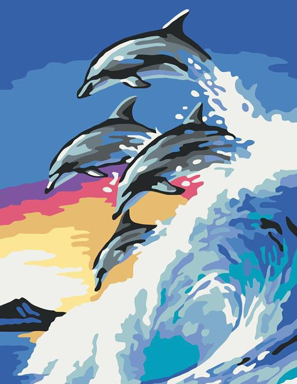 «Дельфины»Раскраски по номерам Ravensburger<br><br><br>Артикул: 28154<br>Основа: Картон<br>Сложность: легкие<br>Размер: 18x24 см<br>Количество цветов: 10<br>Техника рисования: Без смешивания красок