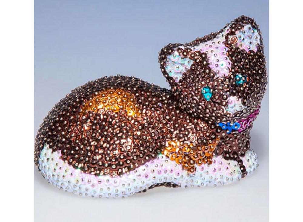 Россия Объемная фигурка из пайеток «Кошка» 3D-01