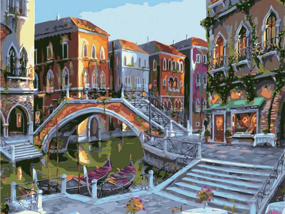 Картина по номерам «Городской пейзаж»Картины по номерам Белоснежка<br><br><br>Артикул: 625-AB-C<br>Основа: Цветной холст<br>Сложность: средние<br>Размер: 40x50 см<br>Количество цветов: 28<br>Техника рисования: Без смешивания красок