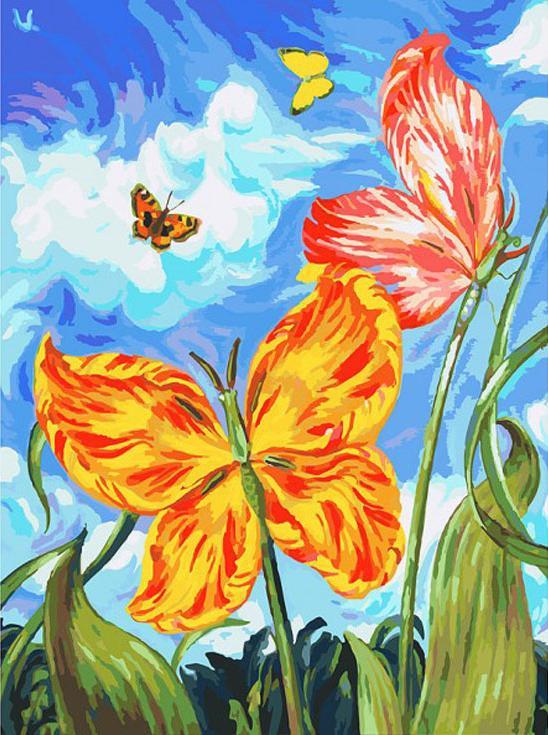Картина по номерам «Бабочки»Картины по номерам Белоснежка<br><br><br>Артикул: 755-AS<br>Основа: Холст<br>Сложность: очень сложные<br>Размер: 30x40 см<br>Количество цветов: 40<br>Техника рисования: Без смешивания красок