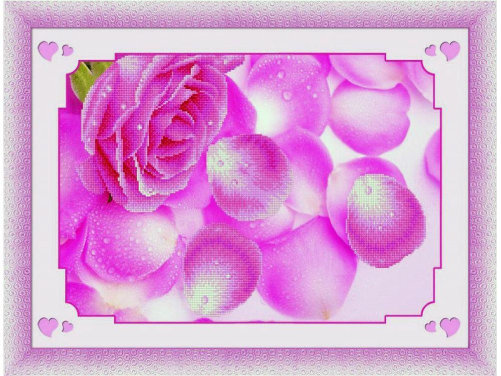 Стразы «Лепестки роз»Timkee<br><br><br>Артикул: 80026<br>Основа: Холст без подрамника<br>Сложность: средние<br>Размер: 51x36 см<br>Выкладка: Частичная<br>Количество цветов: 8-15<br>Тип страз: Квадратные