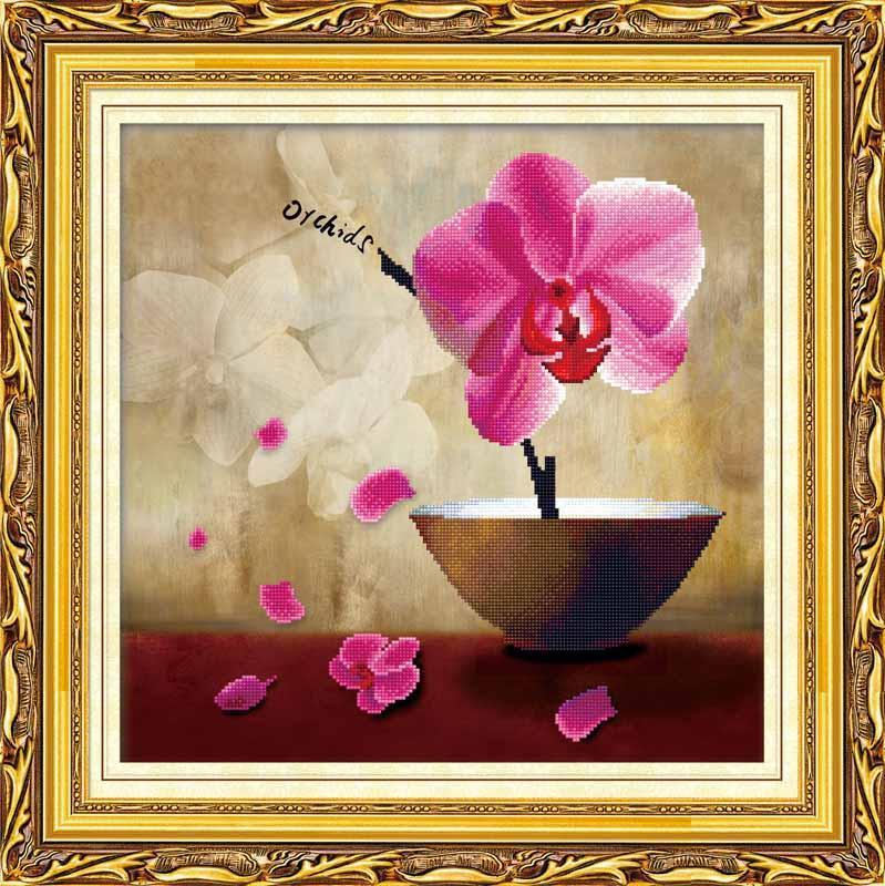 Алмазная вышивка «Цветок орхидеи»Алмазная вышивка Color Kit (Колор Кит)<br><br><br>Артикул: 80114<br>Основа: Холст без подрамника<br>Сложность: средние<br>Размер: 43x43 см<br>Выкладка: Частичная<br>Количество цветов: 25<br>Тип страз: Круглые непрозрачные (акриловые)