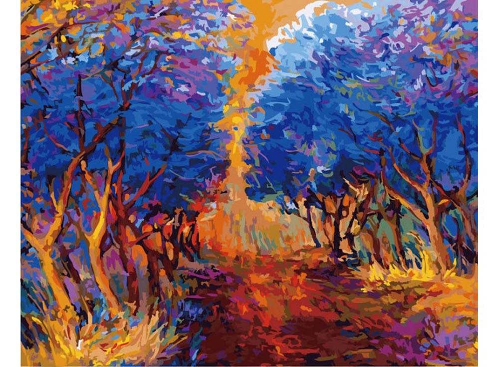 «Осенний лес» Ивайло НиколоваКартины по номерам Белоснежка<br><br><br>Артикул: 885-AB<br>Основа: Холст<br>Сложность: очень сложные<br>Размер: 40x50<br>Количество цветов: 35<br>Техника рисования: Без смешивания красок