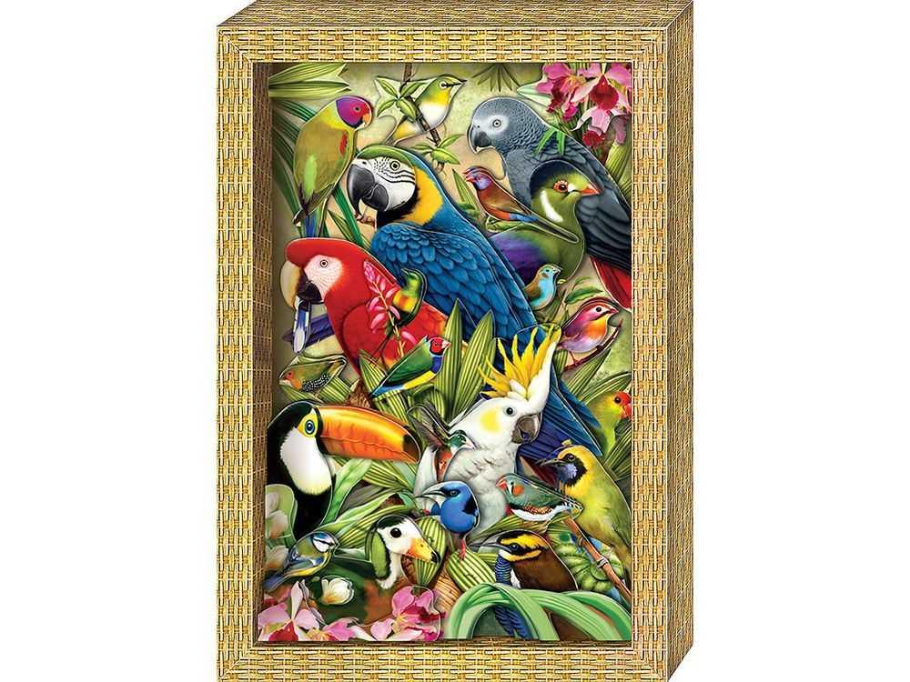 Объемная картина «Я люблю птичек»Клевер<br><br><br>Артикул: АБ21-114<br>Основа: Картон<br>Размер: 20x29 см