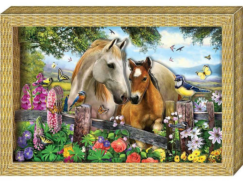 Объемная картина «Я люблю лошадок»Клевер<br><br><br>Артикул: АБ21-115<br>Основа: Картон<br>Размер: 20x29 см