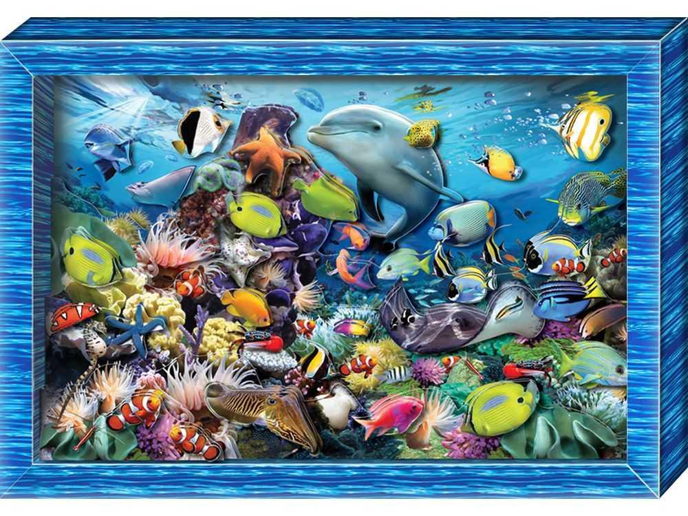 Объемная картина «Я люблю рыбок»Клевер<br>Набор для создания объемной картины Я люблю рыбок полностью укомплектован для творчества.<br><br>Комплектация:<br> - набор цветных заготовок из плотной бумаги;<br> - картонная картинка-фон;<br> - комплект квадратов объемного двухстороннего скотча;<br> - рамка-коробка.<br><br>С...<br><br>Артикул: АБ21-116<br>Основа: Картон<br>Размер: 20x29 см