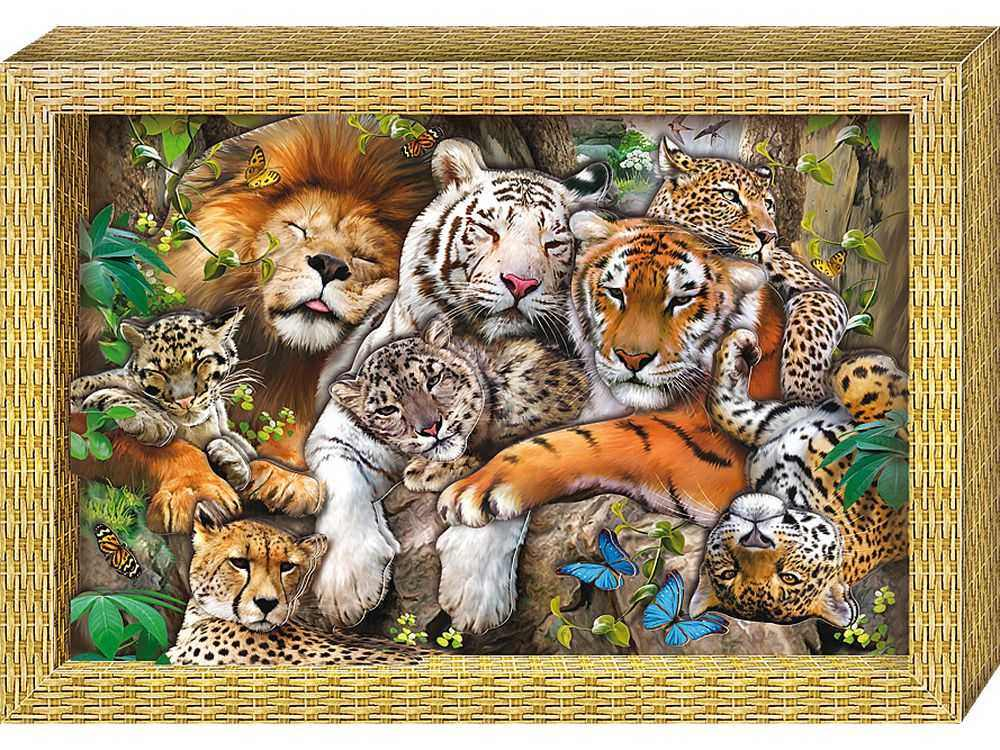 Объемная картина «Большие кошки»Клевер<br>Набор для создания объемной картины Большие кошки полностью укомплектован для творчества.<br><br>Комплектация:<br> - набор цветных заготовок из плотной бумаги;<br> - картонная картинка-фон;<br> - комплект квадратов объемного двухстороннего скотча;<br> - рамка-коробка.<br><br>С...<br><br>Артикул: АБ21-117<br>Основа: Картон<br>Размер: 20x29
