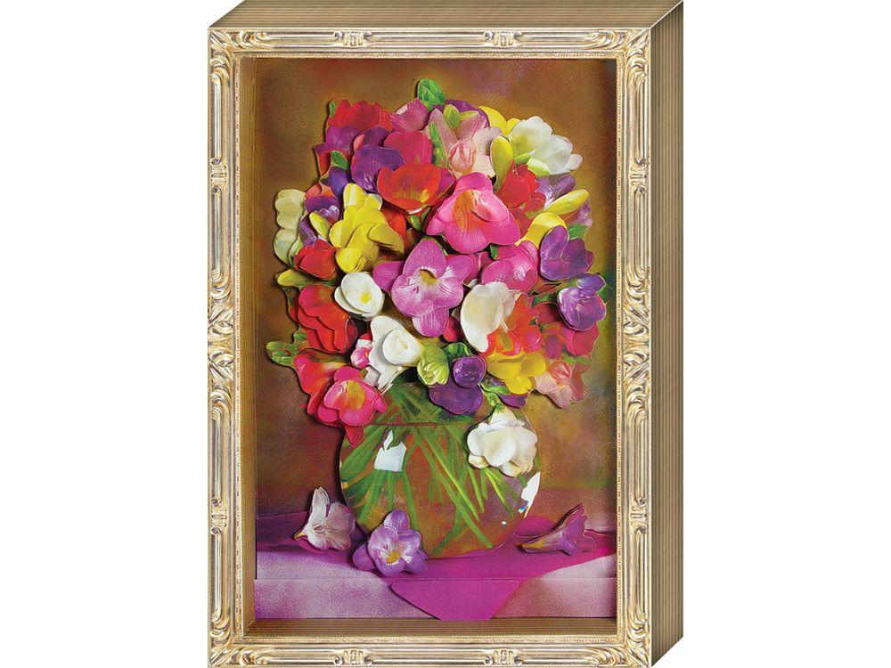 Объемная картина «Весенний букет»Клевер<br>Набор для создания объемной картины Весенний букет полностью укомплектован для творчества.<br> <br> Комплектация:<br> - набор цветных заготовок из плотной бумаги;<br> - картонная картинка;<br> - комплект квадратов объемного двухстороннего скотча;<br> - рамка-коробк...<br><br>Артикул: АБ21-132<br>Основа: Картон<br>Размер: 20x29