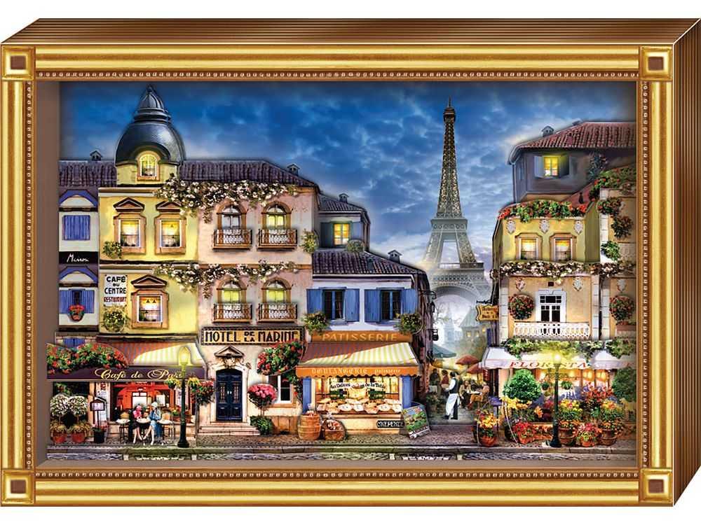 Объемная картина «Париж»Клевер<br>Набор для создания объемной картины Париж полностью укомплектован для творчества.<br><br>Комплектация:<br> - набор цветных заготовок из плотной бумаги;<br> - картонная картинка-фон;<br> - комплект квадратов объемного двухстороннего скотча;<br> - рамка-коробка.<br><br>Создать 3...<br><br>Артикул: АБ21-141<br>Основа: Картон<br>Размер: 20x29 см