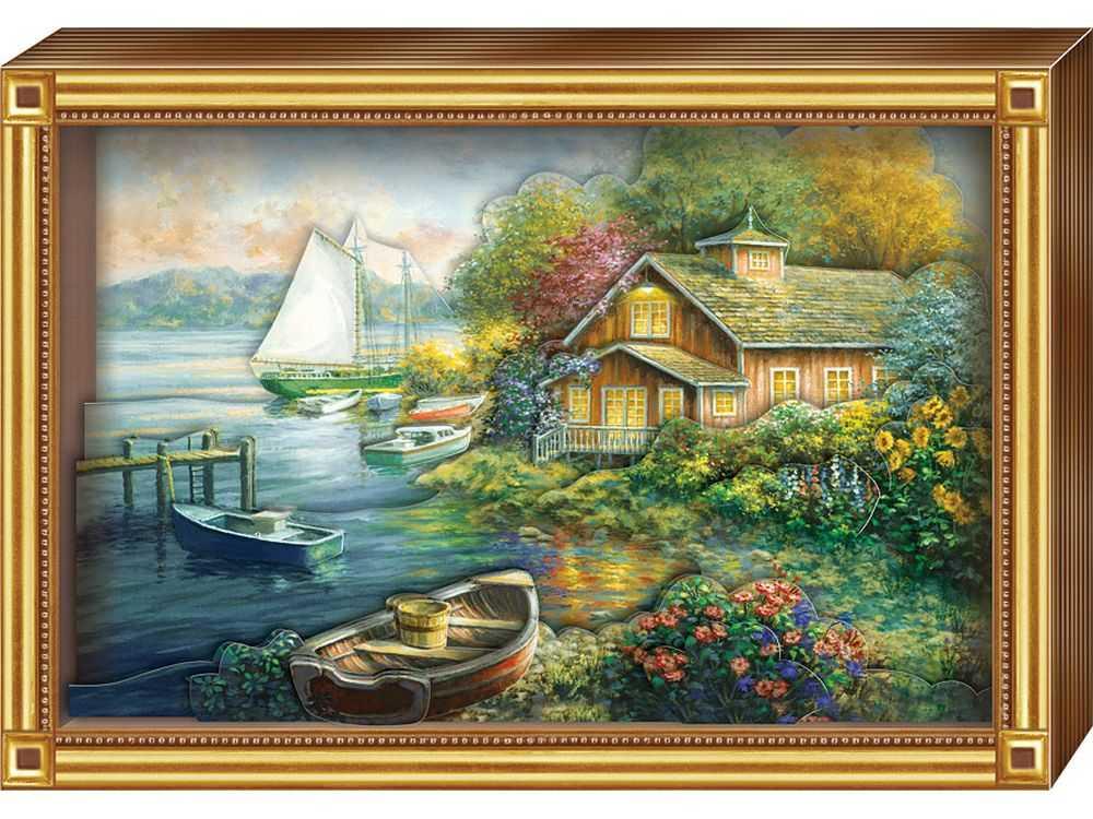 Объемная картина «Тихое озеро»Клевер<br>Набор для создания объемной картины Тихое озеро полностью укомплектован для творчества.<br><br>Комплектация:<br> - набор цветных заготовок из плотной бумаги;<br> - картонная картинка-фон;<br> - комплект квадратов объемного двухстороннего скотча;<br> - рамка-коробка.<br><br>Соз...<br><br>Артикул: АБ21-143<br>Основа: Картон<br>Размер: 20x29 см