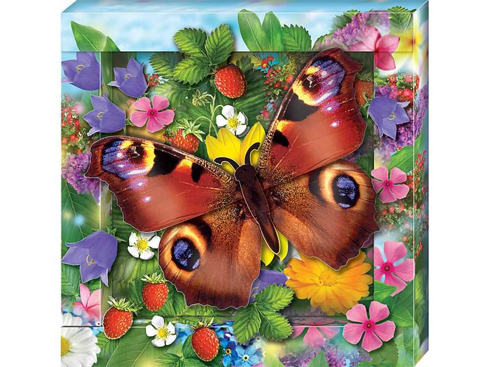 Объемная картина «Радужная бабочка»Клевер<br><br><br>Артикул: АБ41-200<br>Основа: Картон<br>Размер: 21x21 см
