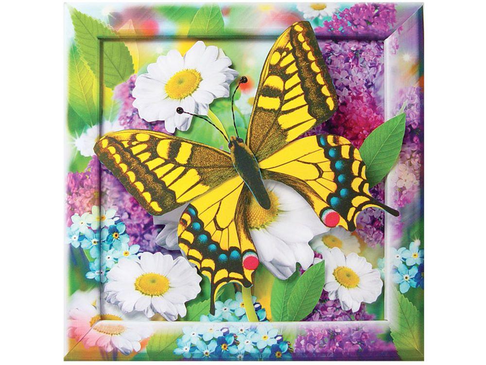 Объемная картина «Золотистая бабочка»Клевер<br>Набор для создания объемной картины Золотистая бабочка полностью укомплектован для творчества. Дополнительно для работы потребуются только ножницы.<br><br>Комплектация:<br> - набор заготовок из картона и цветной бумаги;<br> - подробная пошаговая инструкция с фото;<br>...<br><br>Артикул: АБ41-201<br>Основа: Картон<br>Размер: 20x20 см