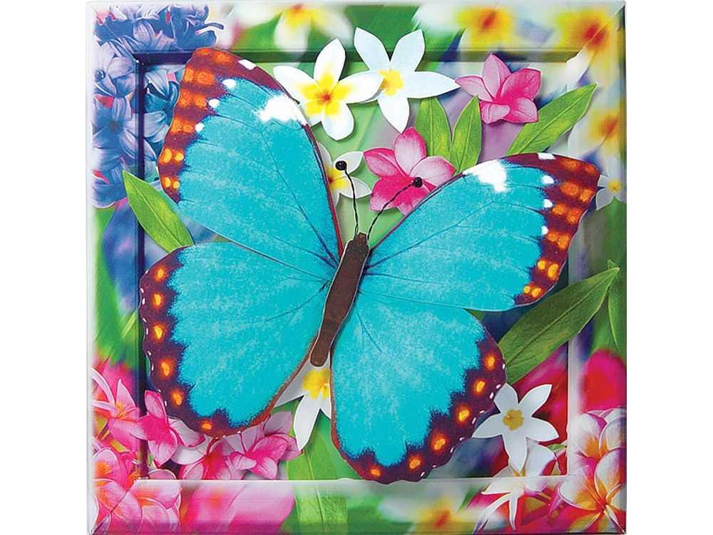 Объемная картина «Лазурная бабочка»Клевер<br><br><br>Артикул: АБ41-202<br>Основа: Картон<br>Размер: 20x20 см