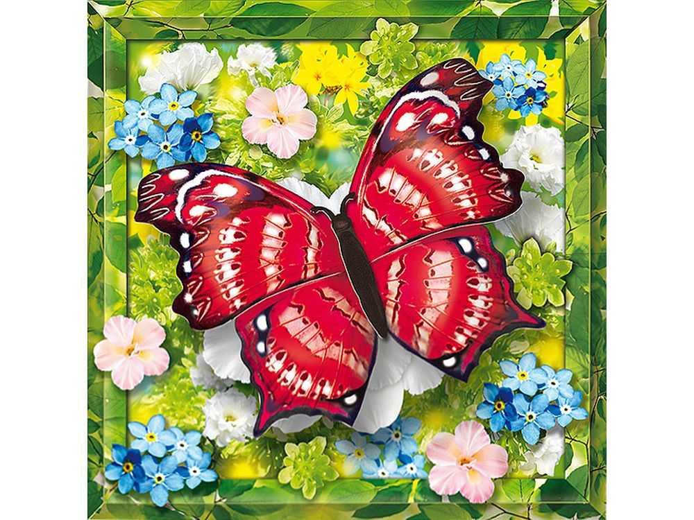 Объемная картина «Пурпурная бабочка»Клевер<br>Набор для создания объемной картины Пурпурная бабочка полностью укомплектован для творчества. Дополнительно для работы потребуются только ножницы.<br><br>Комплектация:<br> - набор заготовок из картона и цветной бумаги;<br> - подробная инструкция (расположена на обр...<br><br>Артикул: АБ41-203<br>Основа: Картон<br>Размер: 21x21 см