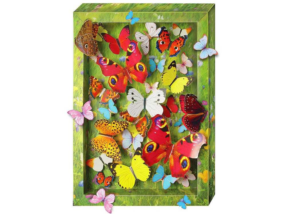 Объемная картина «Взлетающие бабочки»Клевер<br><br><br>Артикул: АБ41-211<br>Основа: Картон<br>Размер: 20x29 см