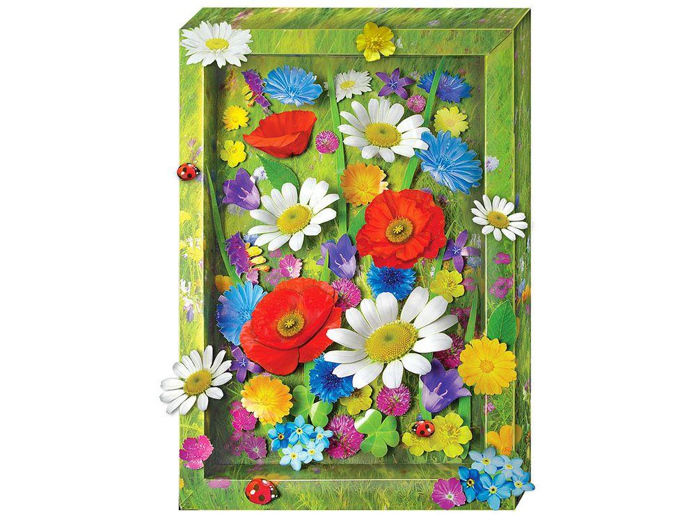 Объемна картина «Полевые цветы»Клевер<br><br><br>Артикул: АБ41-212<br>Основа: Картон<br>Размер: 20x29 см
