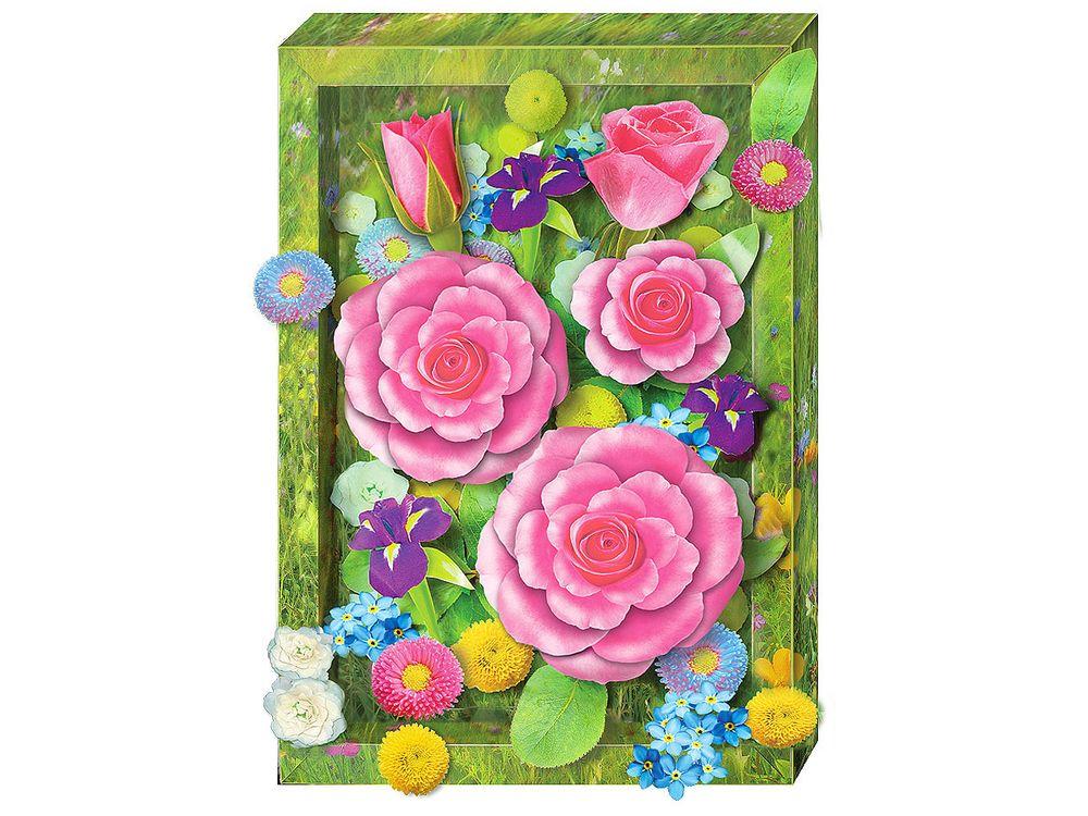 Объемная картина «Пышные розы»Клевер<br>Набор для создания объемной картины Пышные розы полностью укомплектован для творчества. Дополнительно для работы потребуются только ножницы.<br><br>Комплектация:<br> - набор цветных заготовок из плотной бумаги;<br> - картонная картинка;<br> - объемный и тонкий двухсто...<br><br>Артикул: АБ41-213<br>Основа: Картон<br>Размер: 20x29 см
