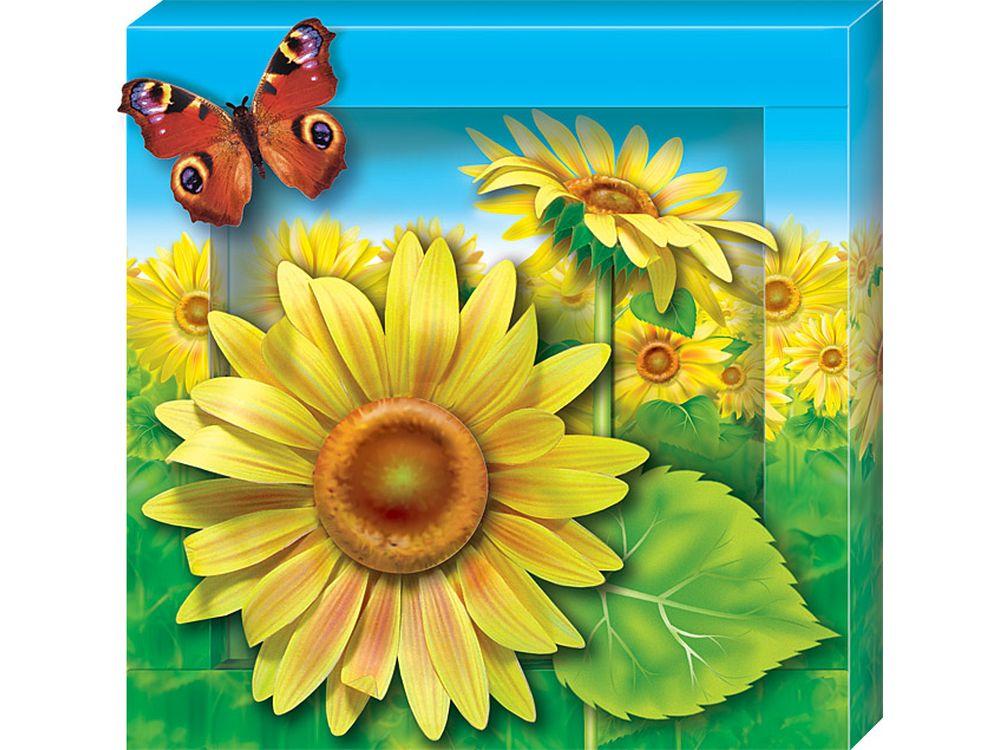 Объемная картина «Подсолнух»Клевер<br><br><br>Артикул: АБ41-301<br>Основа: Картон<br>Размер: 20x20 см