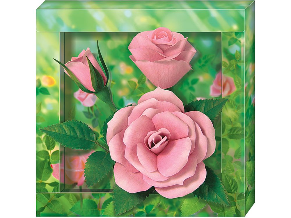 Объемная картина «Розы»Клевер<br><br><br>Артикул: АБ41-305<br>Основа: Картон<br>Размер: 21x21 см