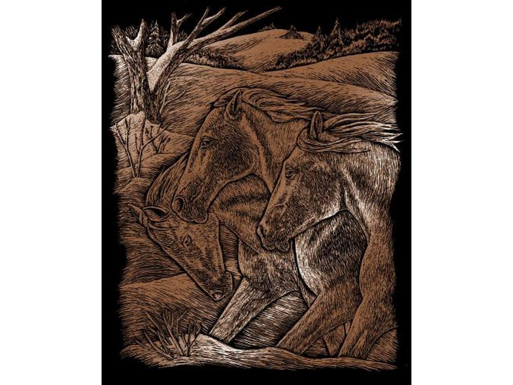 Гравюра «Три лошади»Гравюры<br>Красивые образы, созданные при помощи гравировки, привлекают и техникой исполнения, и результатом.<br><br> Основа - плотный картон со специальным черным матовым покрытием и с нанесенным на него контуром-наброском. Аккуратно сцарапывайте покрытие с наброска с по...<br><br>Артикул: COPF23<br>Размер: 20,3x25,4 см<br>Цвет: Медь