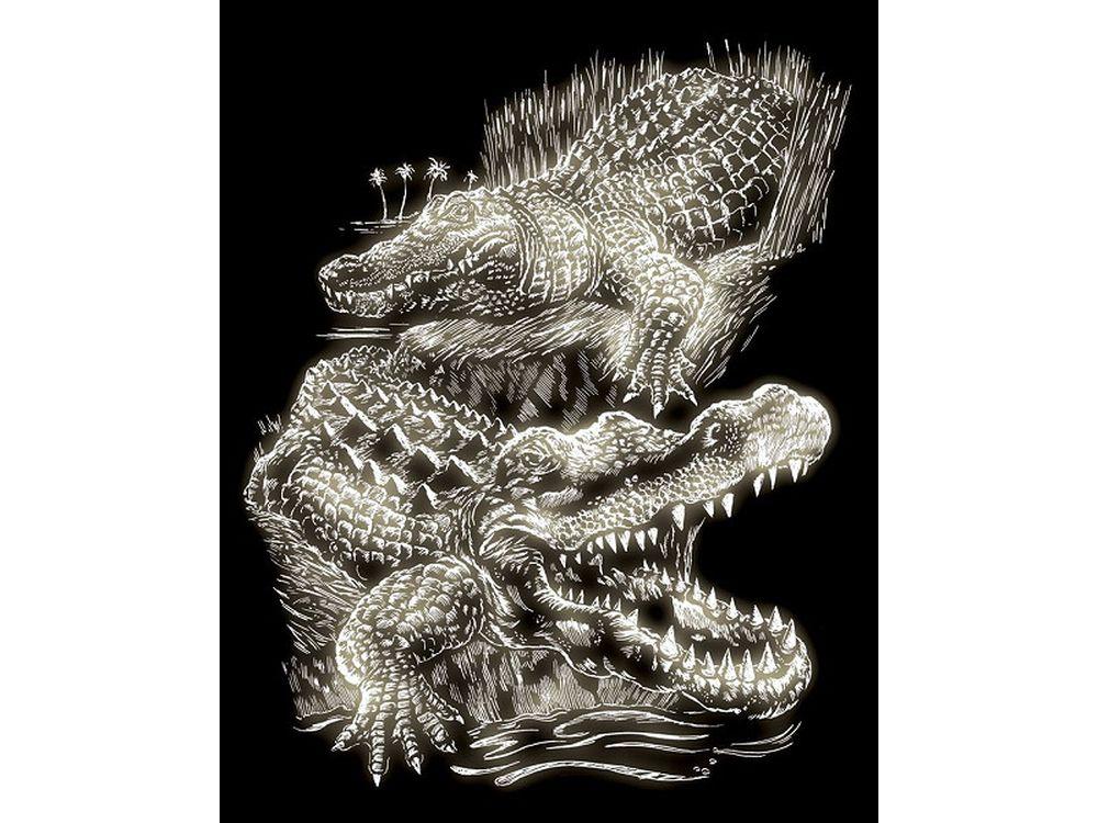 Гравюра «Крокодил»Гравюры<br>Красивые образы, созданные при помощи гравировки, привлекают и техникой исполнения, и результатом.<br><br> Основа - плотный картон со специальным черным матовым покрытием и с нанесенным на него контуром-наброском. Аккуратно сцарапывайте покрытие с наброска с по...<br><br>Артикул: GLO16<br>Размер: 20,3x25,4 см<br>Цвет: Серебро (светится в темноте)