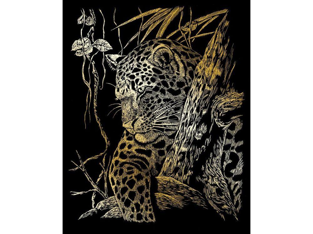 Гравюра «Леопард на дереве»Гравюры<br>Красивые образы, созданные при помощи гравировки, привлекают и техникой исполнения, и результатом.<br><br> Основа - плотный картон со специальным черным матовым покрытием и с нанесенным на него контуром-наброском. Аккуратно сцарапывайте покрытие с наброска с по...<br><br>Артикул: GOLF21<br>Размер: 20,3x25,4 см<br>Цвет: Золото