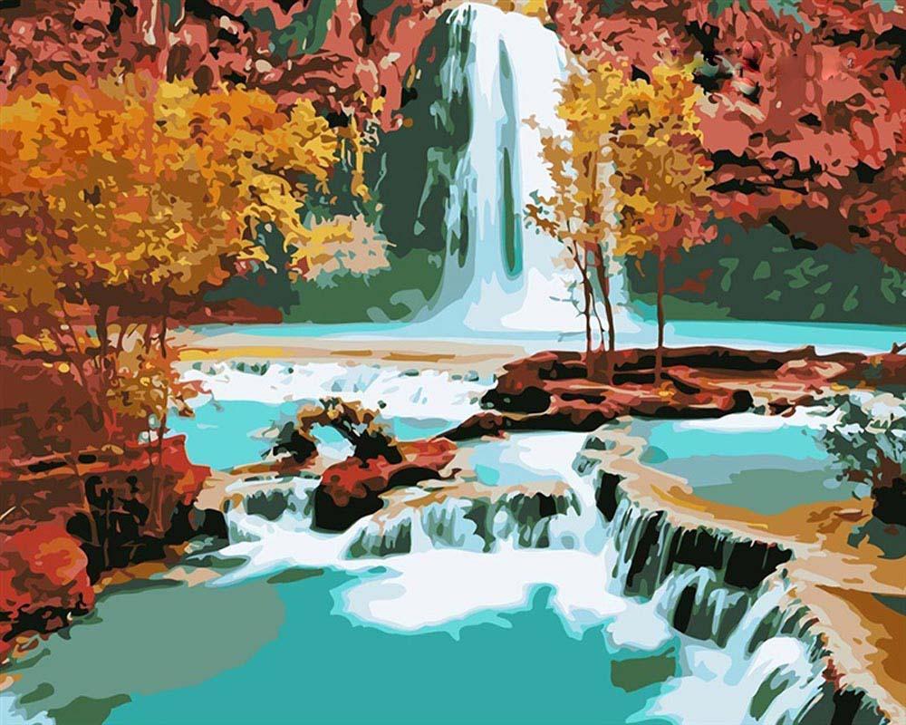 «Водопад»Цветной (Premium)<br><br><br>Артикул: MG1105_Z<br>Основа: Холст<br>Сложность: средние<br>Размер: 40x50<br>Количество цветов: 25<br>Техника рисования: Без смешивания красок