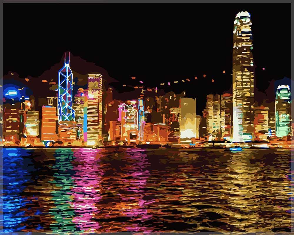 Картина по номерам «Ночной Гонконг»Цветной (Premium)<br><br><br>Артикул: MG1108_Z<br>Основа: Цветной холст<br>Сложность: сложные<br>Размер: 40x50 см<br>Количество цветов: 25<br>Техника рисования: Без смешивания красок