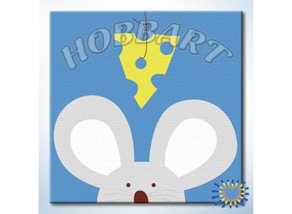«Кто там — Мышонок»20x20<br><br><br>Артикул: HB2020007<br>Основа: Холст<br>Сложность: очень легкие<br>Размер: 20x20 см<br>Количество цветов: 6<br>Техника рисования: Без смешивания красок