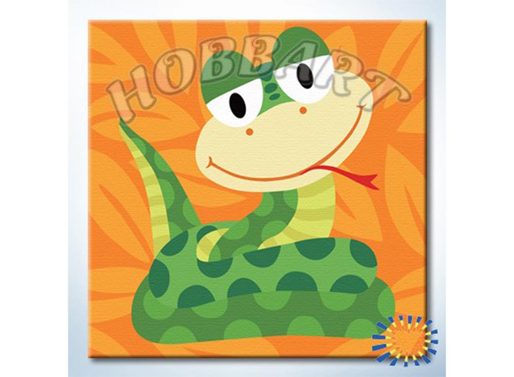 «Веселые зверюшки. Змейка»20x20<br><br><br>Артикул: HB2020055<br>Основа: Холст<br>Сложность: очень легкие<br>Размер: 20x20 см<br>Количество цветов: 13<br>Техника рисования: Без смешивания красок