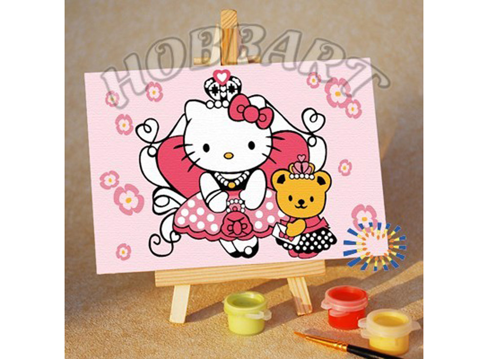 «Hello Kitty. Китти принцесса»10x15<br><br><br>Артикул: M1015001<br>Основа: Картон<br>Сложность: очень легкие<br>Размер: 10x15 см<br>Количество цветов: 6<br>Техника рисования: Без смешивания красок