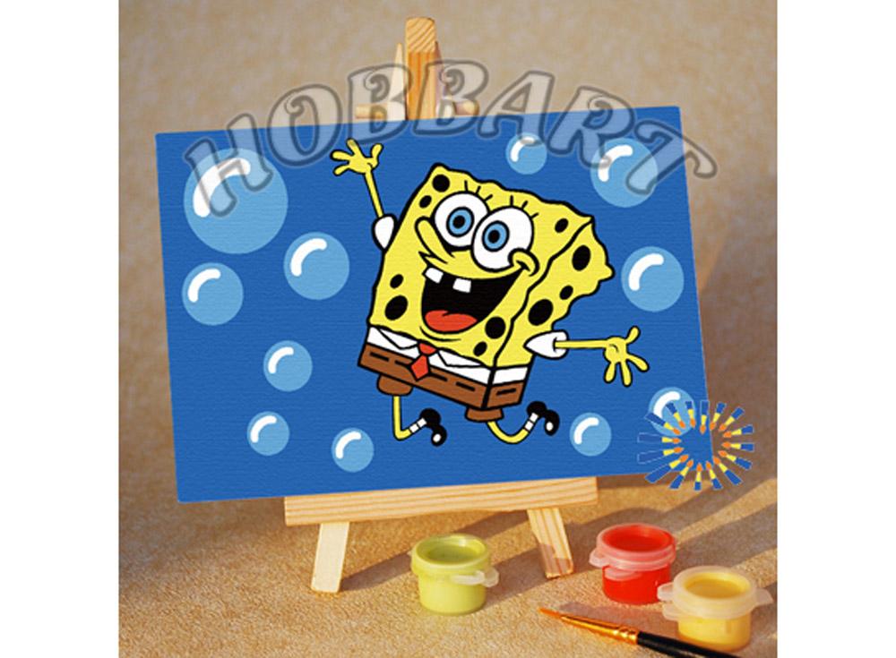 «Spong Bob: пузыриии!»10x15<br><br><br>Артикул: M1015019<br>Основа: Картон<br>Сложность: очень легкие<br>Размер: 10x15<br>Количество цветов: 7<br>Техника рисования: Без смешивания красок