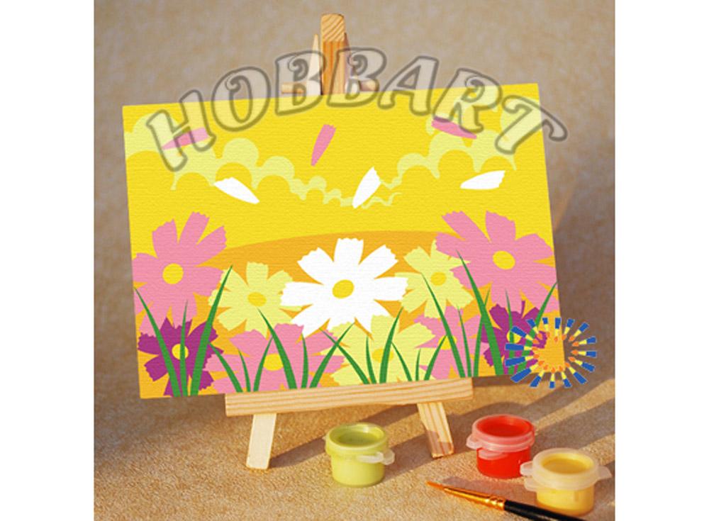 Картина по номерам «Солнечная лужайка»10x15<br><br><br>Артикул: M1015023<br>Основа: Картон<br>Сложность: очень легкие<br>Размер: 10x15 см<br>Количество цветов: 7<br>Техника рисования: Без смешивания красок