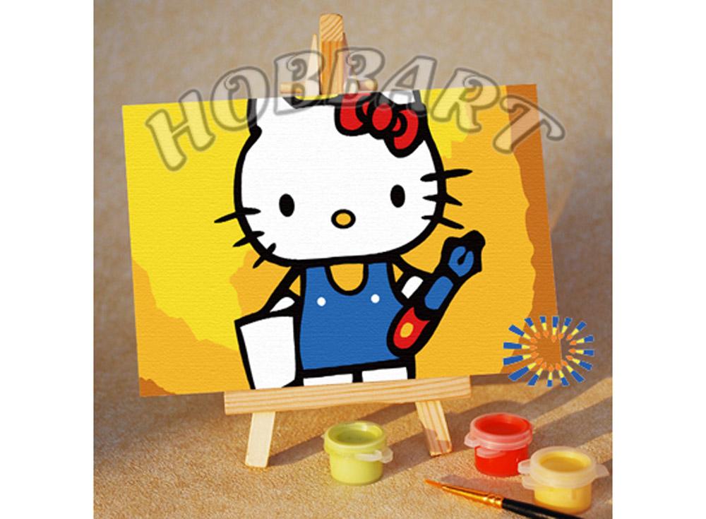 «Hello Kitty: учусь писать»10x15<br><br><br>Артикул: M1015027<br>Основа: Картон<br>Сложность: очень легкие<br>Размер: 10x15 см<br>Количество цветов: 7<br>Техника рисования: Без смешивания красок