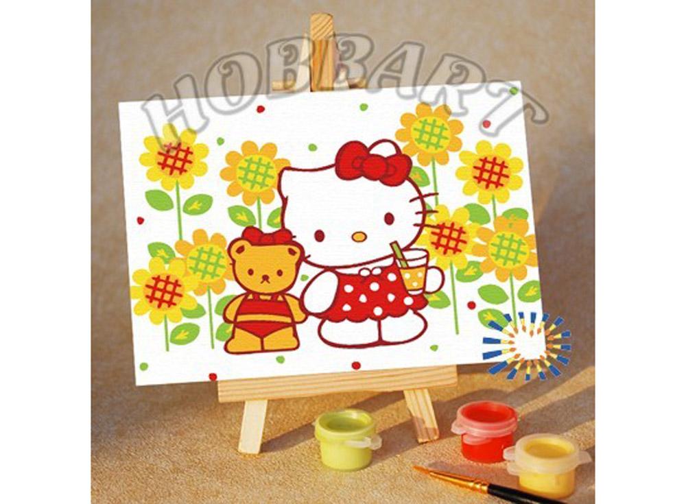 «Hello Kitty. Коктейль на лужайке»10x15<br><br><br>Артикул: M1015030<br>Основа: Картон<br>Сложность: очень легкие<br>Размер: 10x15<br>Количество цветов: 6<br>Техника рисования: Без смешивания красок