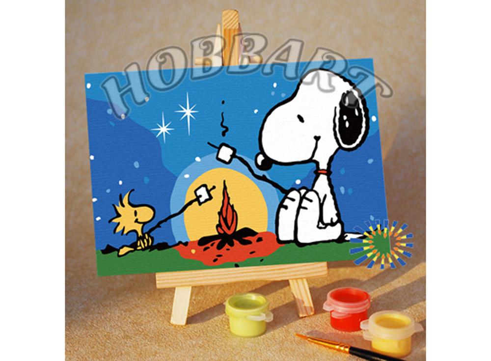 «Снупи: зефирный пикник»10x15<br><br><br>Артикул: M1015032<br>Основа: Картон<br>Сложность: очень легкие<br>Размер: 10x15<br>Количество цветов: 8<br>Техника рисования: Без смешивания красок