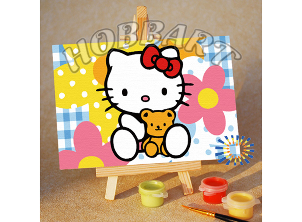 «Hello Kitty: мягкий друг»10x15<br><br><br>Артикул: M1015033<br>Основа: Картон<br>Сложность: очень легкие<br>Размер: 10x15 см<br>Количество цветов: 8<br>Техника рисования: Без смешивания красок