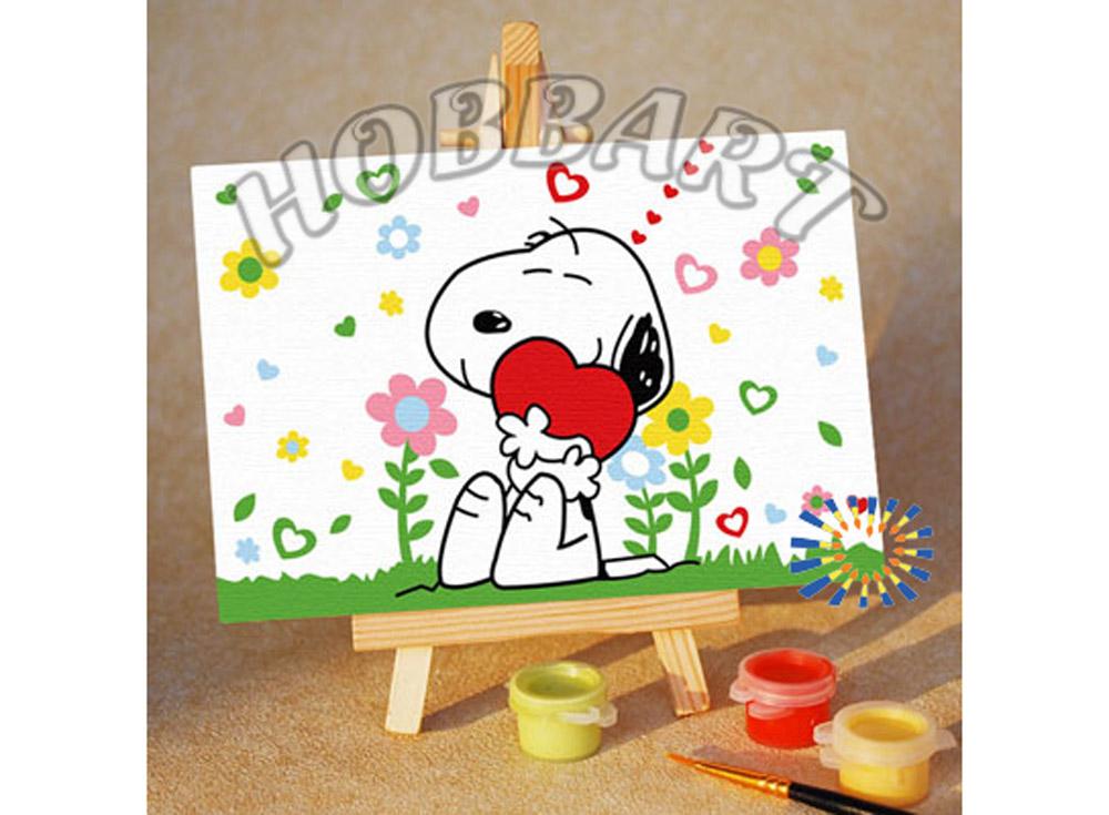 «Снупи. Обнимашки»10x15<br><br><br>Артикул: M1015048<br>Основа: Картон<br>Сложность: очень легкие<br>Размер: 10x15<br>Количество цветов: 7<br>Техника рисования: Без смешивания красок