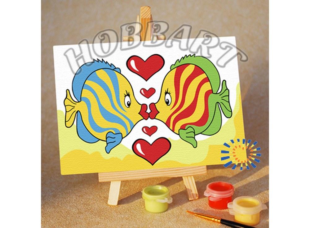 «Рыбка, чмок!»10x15<br><br><br>Артикул: M1015085<br>Основа: Картон<br>Сложность: очень легкие<br>Размер: 10x15 см<br>Количество цветов: 7<br>Техника рисования: Без смешивания красок