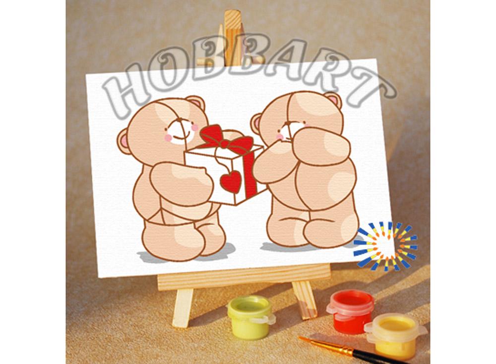 Картина по номерам «Подарок со смыслом»10x15<br><br><br>Артикул: M1015089<br>Основа: Картон<br>Сложность: очень легкие<br>Размер: 10x15 см<br>Количество цветов: 7<br>Техника рисования: Без смешивания красок