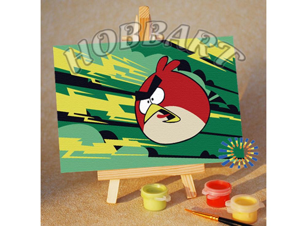 «Angry Birds. Red bird. Молниеносная»10x15<br><br><br>Артикул: M1015133<br>Основа: Картон<br>Сложность: очень легкие<br>Размер: 10x15 см<br>Количество цветов: 7<br>Техника рисования: Без смешивания красок