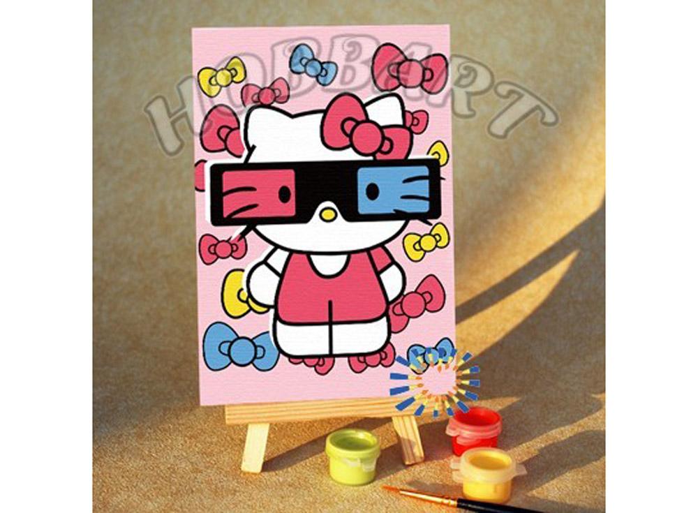 «Hello Kitty: стереоэффект»10x15<br><br><br>Артикул: M1015142<br>Основа: Картон<br>Сложность: очень легкие<br>Размер: 10x15<br>Количество цветов: 6<br>Техника рисования: Без смешивания красок
