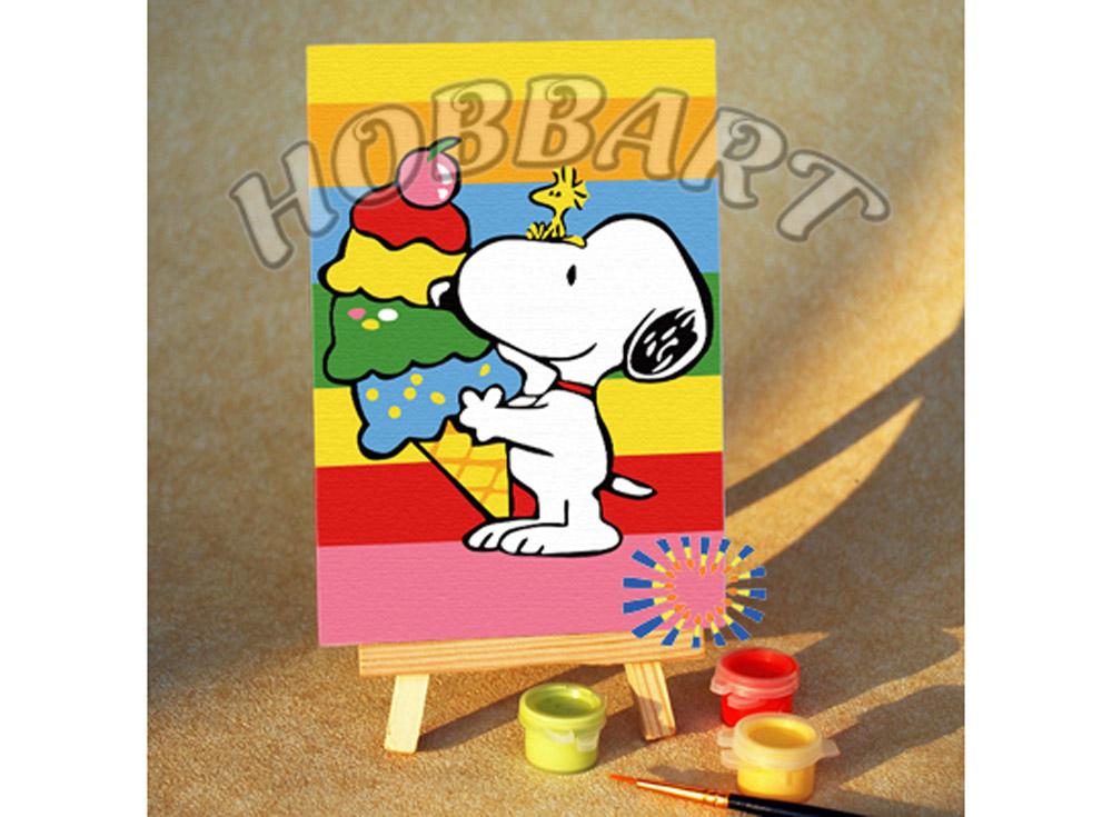 «Снупи. Радужный десерт»10x15<br><br><br>Артикул: M1015144<br>Основа: Картон<br>Сложность: очень легкие<br>Размер: 10x15 см<br>Количество цветов: 8<br>Техника рисования: Без смешивания красок